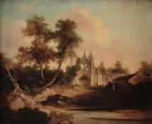 Scuola nord europea del XIX secolo, Paesaggio con rovine di cattedrale - olio su tela [...]