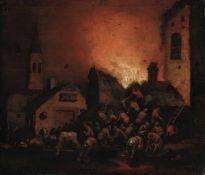 Adriaen Lievensz van der Poel (Delft 1628 - Leida 1671), attribuito a, Incendio - [...]