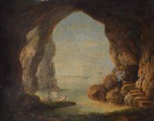 Scuola italiana del XVIII secolo, Fanciulle al bagno entro grotta - olio su rame, cm [...]