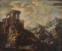 Scuola romana del XVIII secolo, Paesaggio con rovine e figure - olio su tela, cm 62x74 -