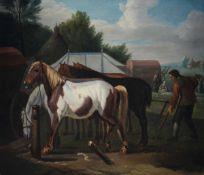 Jan Frans van Bloemen (Anversa 1662 - Roma 1749), Fattore e cavalli - olio su tavola, [...]