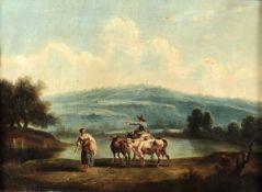 Artista fiammingo operante a Roma nel XVIII secolo, Paesaggio con contadini e armenti [...]