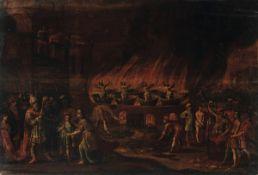 Scuola fiamminga XVII secolo, Notturno con scena di martirio - olio su tavola, cm [...]