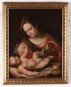 Scuola italiana del XVII secolo, Madonna col Bambino - olio su tela, cm 68,5x54 -