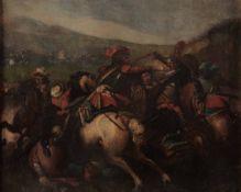Scuola italiana del XVIII secolo, Scontro di cavalleria - olio su tela, cm 48x59 -