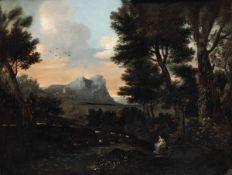 Scuola italiana della fine del XVIII secolo, Figura femminile entro paesaggio - olio [...]