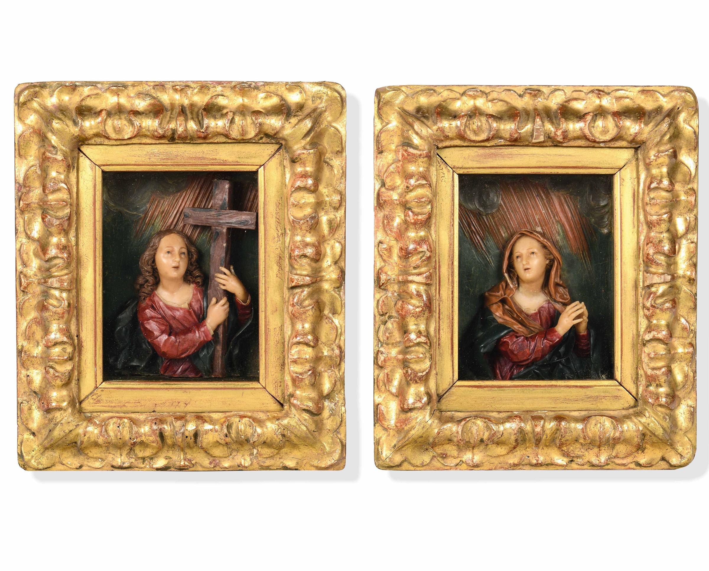 Two waxes attr. F. Scandellari,Italy, 1700s - Le due figure, sono raffigurate a mezzo [...]