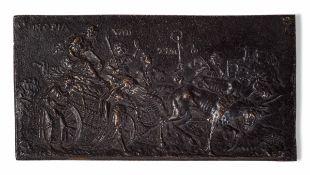 """A bronze plaque, Flanders, 1100s - cm 12,5x6 Sul verso etichetta cartacea """"Antichità [...]"""