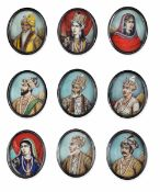 Nine ivory and metal portraits, India, 1800s - cm 5,5x4 -