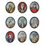 Nine ivory and metal portraits, India, 1800s - cm 5,5x4 -
