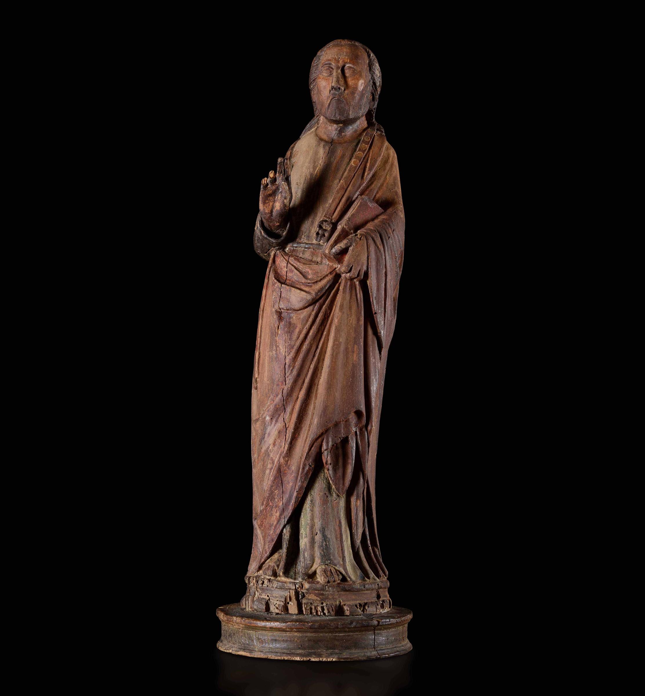 A wood St Thomas, Italy, early 1300s - altezza cm 73. L'elegantissima e raccolta [...]