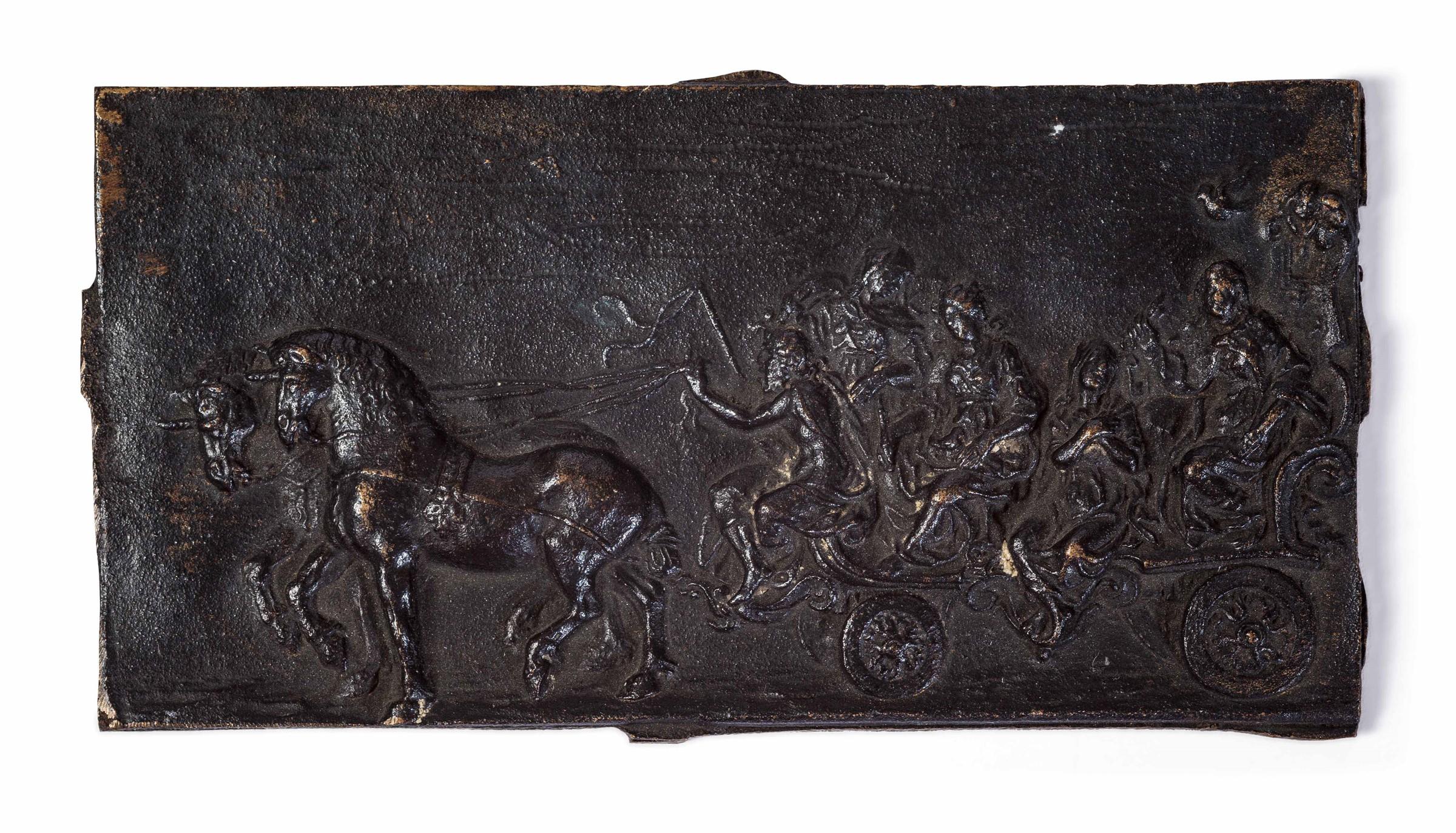 """A bronze plaque, Flanders, 1100s - cm 12x6 Sul verso etichetta cartacea """"Antichità [...]"""