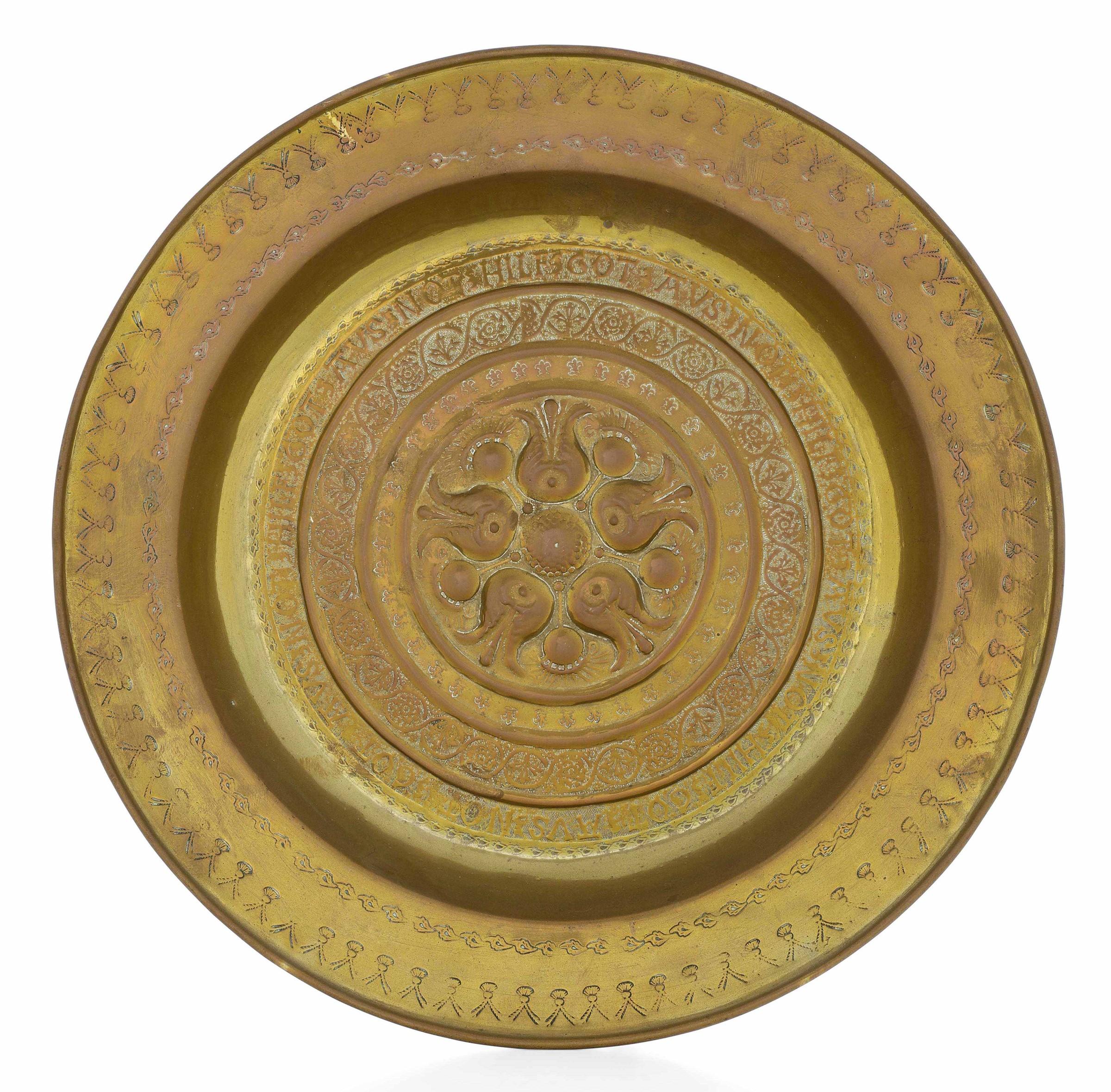 A brass plate, Germany, 1500s - diametro cm 42,5. Cavetto con raffigurazione a [...]