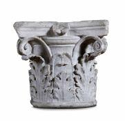 A Corinthian marble capital, Italy, 1400s - cm 38,5x38,5x34. L'elemento [...]
