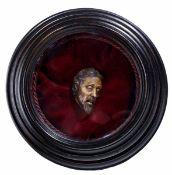 """A wax Christ head, Genoa, 16-1700s - cm 7x4, Opera pubblicata in """"Sortilegi in cera. [...]"""