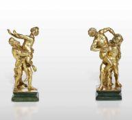 Two gilt wood sculptures, Rome, 1600s - altezza cm 49 circa -