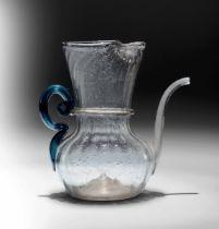 A small pitcher, Venice/façon de Venise, 1700s - Altezza cm 10 Corpo costolato, [...]