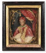A wax Pope Benedict XIII, Sicily, 1700s - Altorilievo in cera policroma entro cornice [...]