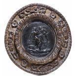 A bronze plaque, attr. D. Van Tetroder, Rome, 1553 - cm 27x25,5, cornice cm 54x50 [...]