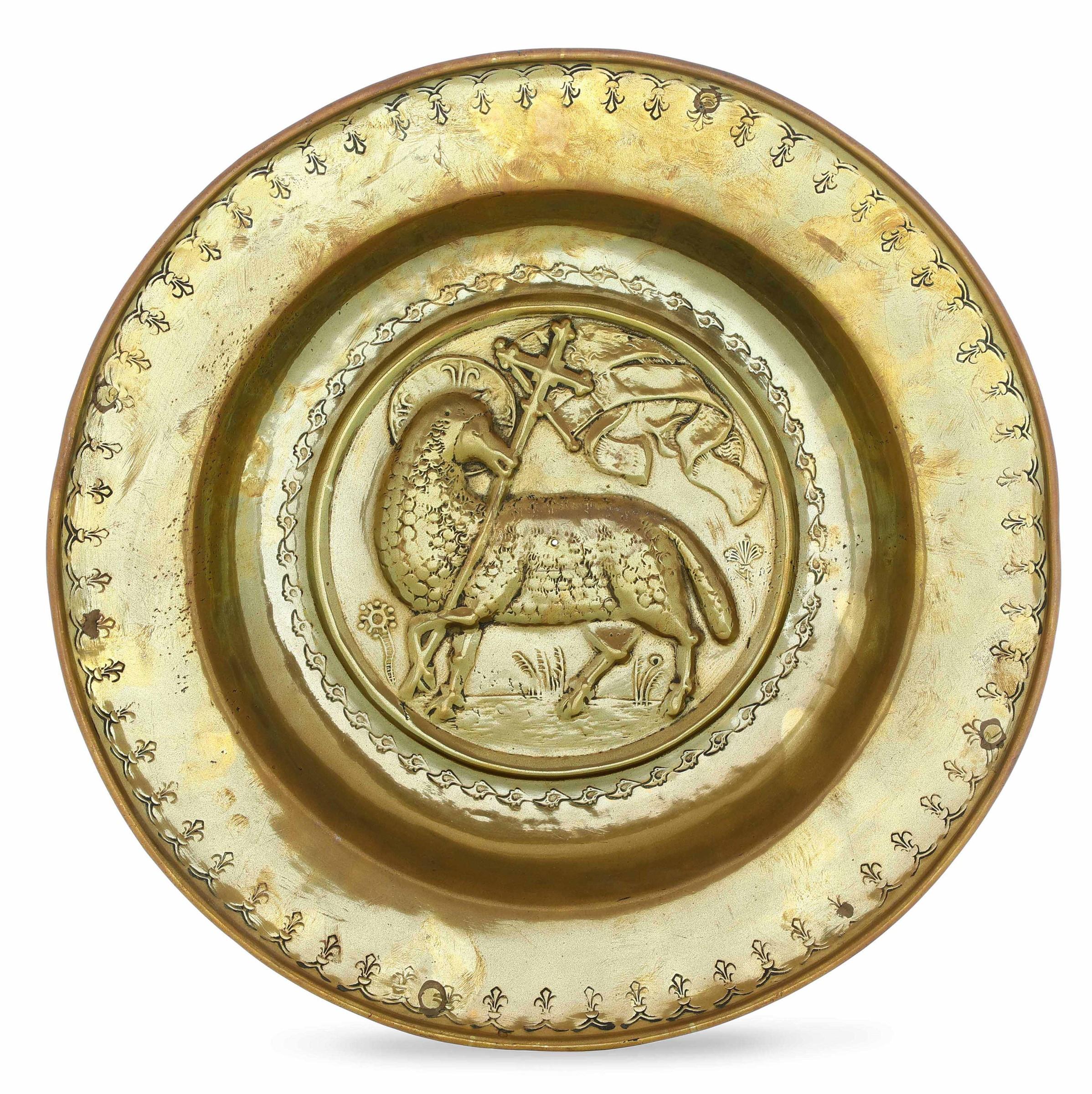 A brass plate, Germany, 1500s - diametro cm 36. Cavetto con raffigurazione [...]
