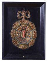 A copper plaque, Sicily, early 1700s - placca cm 40x26, Madonna altezza cm 8, cornice [...]