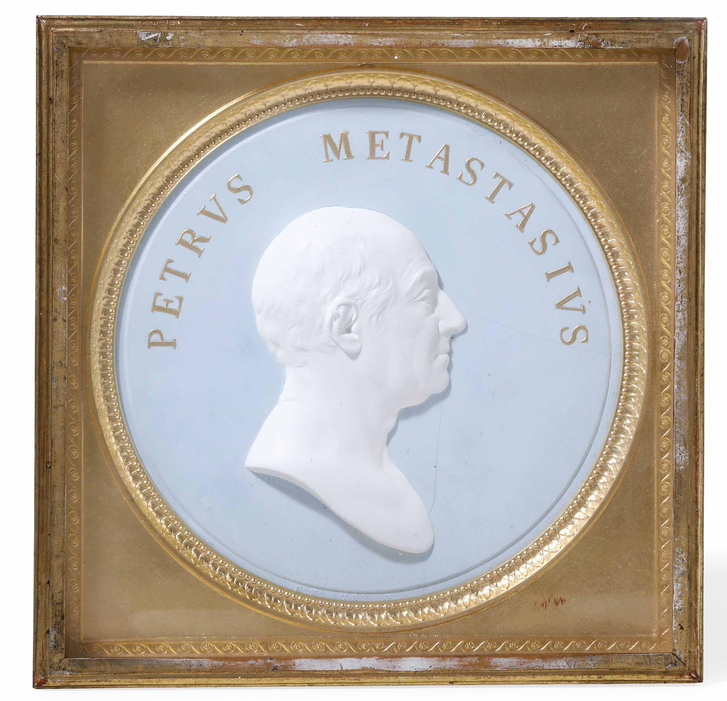 A biscuit portrait of P. Metastasio, Italy, 18-1900s - diametro cm 15 -