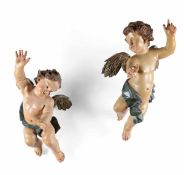 Two wooden angels, Central Italy, 16-1700s - cm 67 circa -