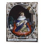 """A copper and enamel Saint, Limoges, 1700s - cm 14,5x11,5 Iscrizione sul verso """"Laudin [...]"""