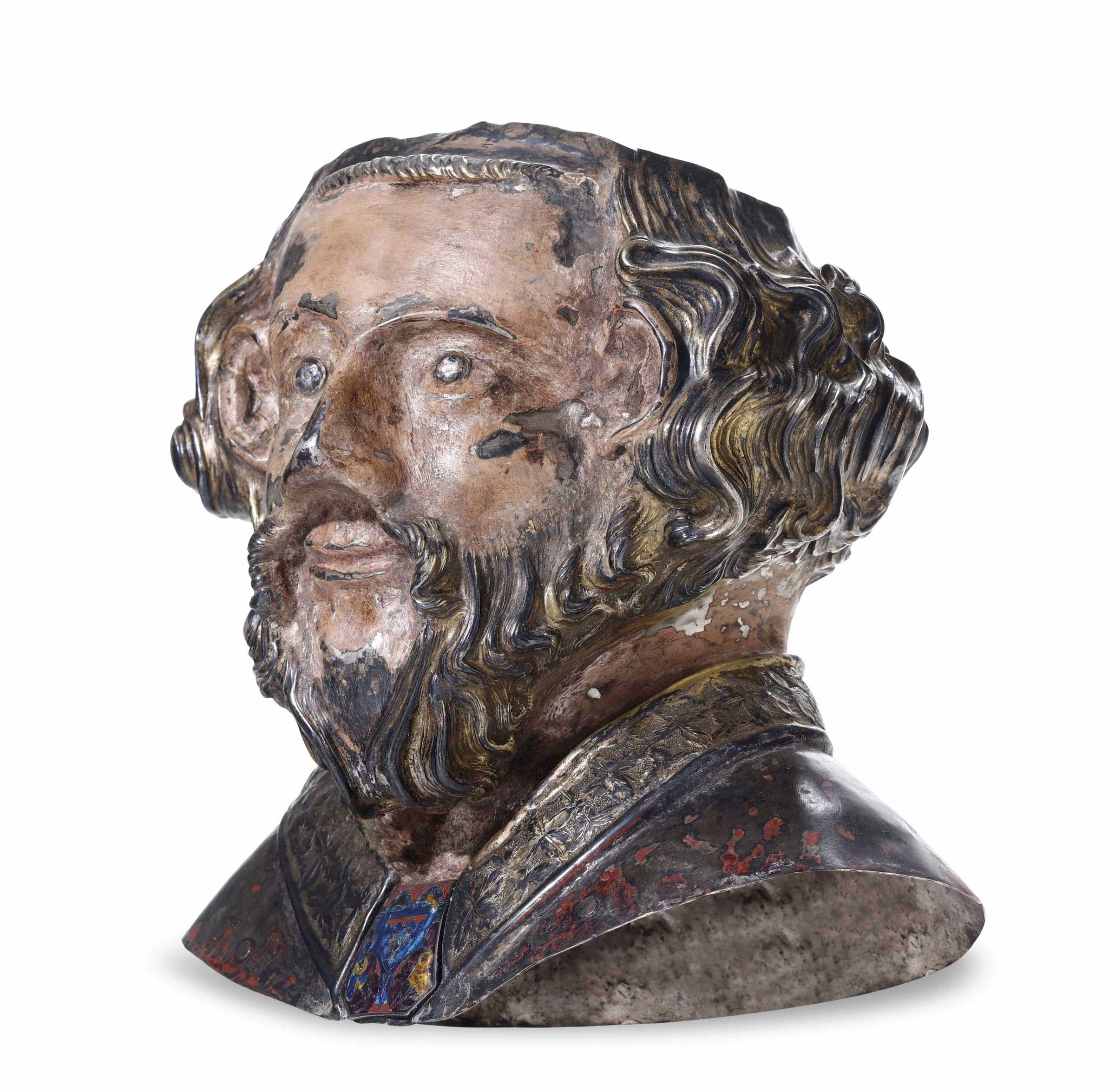 A silver Saint, Catalonia or France, 13-1400s - cm 23x14x24. La rara testimonianza di [...] - Image 2 of 2