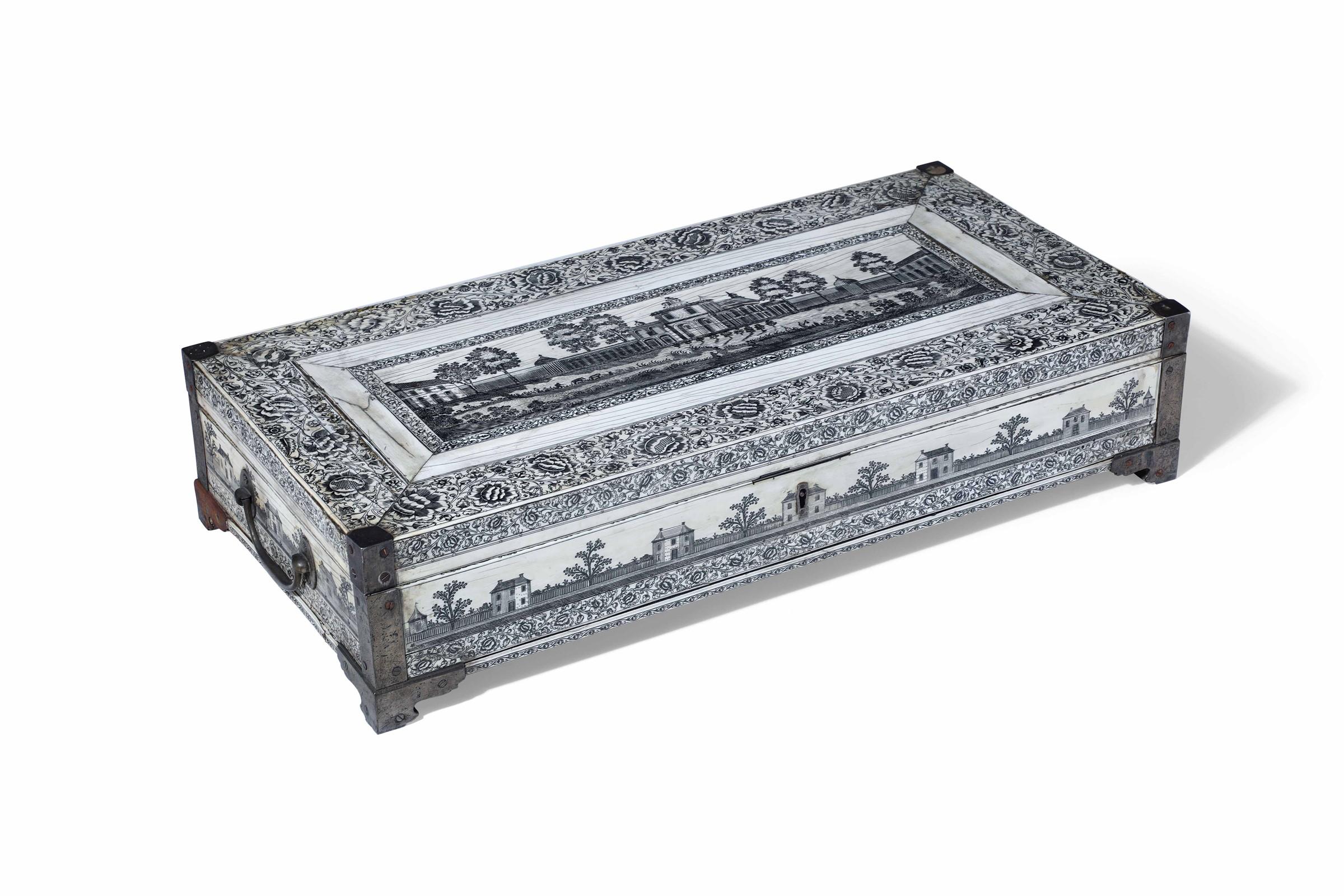 A writing box, Vizagapathan, India, 17/1800s - cm 61x30x14 Eleganti fasce decorate [...] - Image 2 of 2