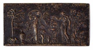 A bronze plaque, beyond the Alps, 1600s - cm 12,5x6 -