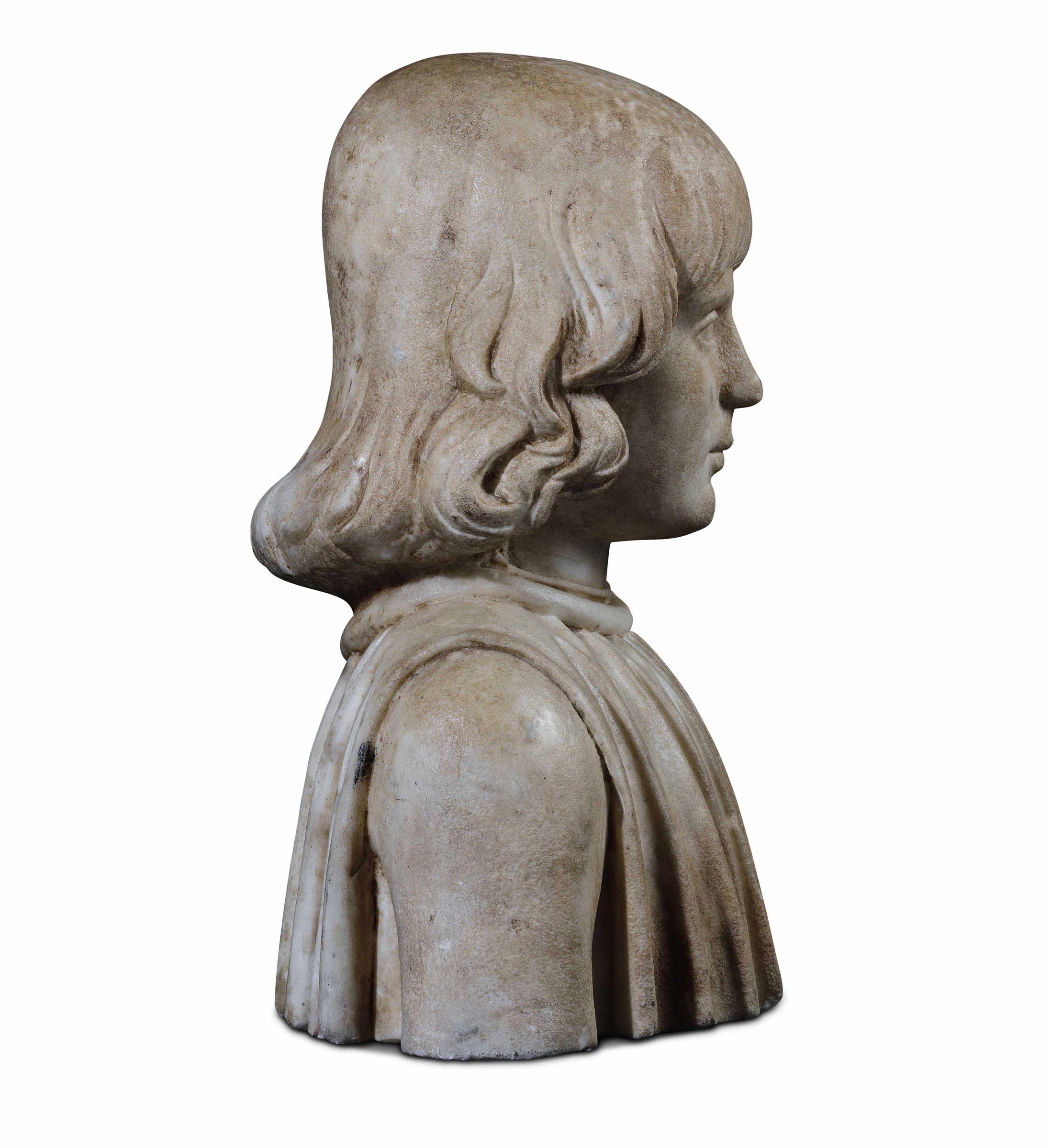 A marble bust, attr. F. Laurana, 1400s - cm 41x32x22. L'opera è accompagnata da una [...] - Image 2 of 4