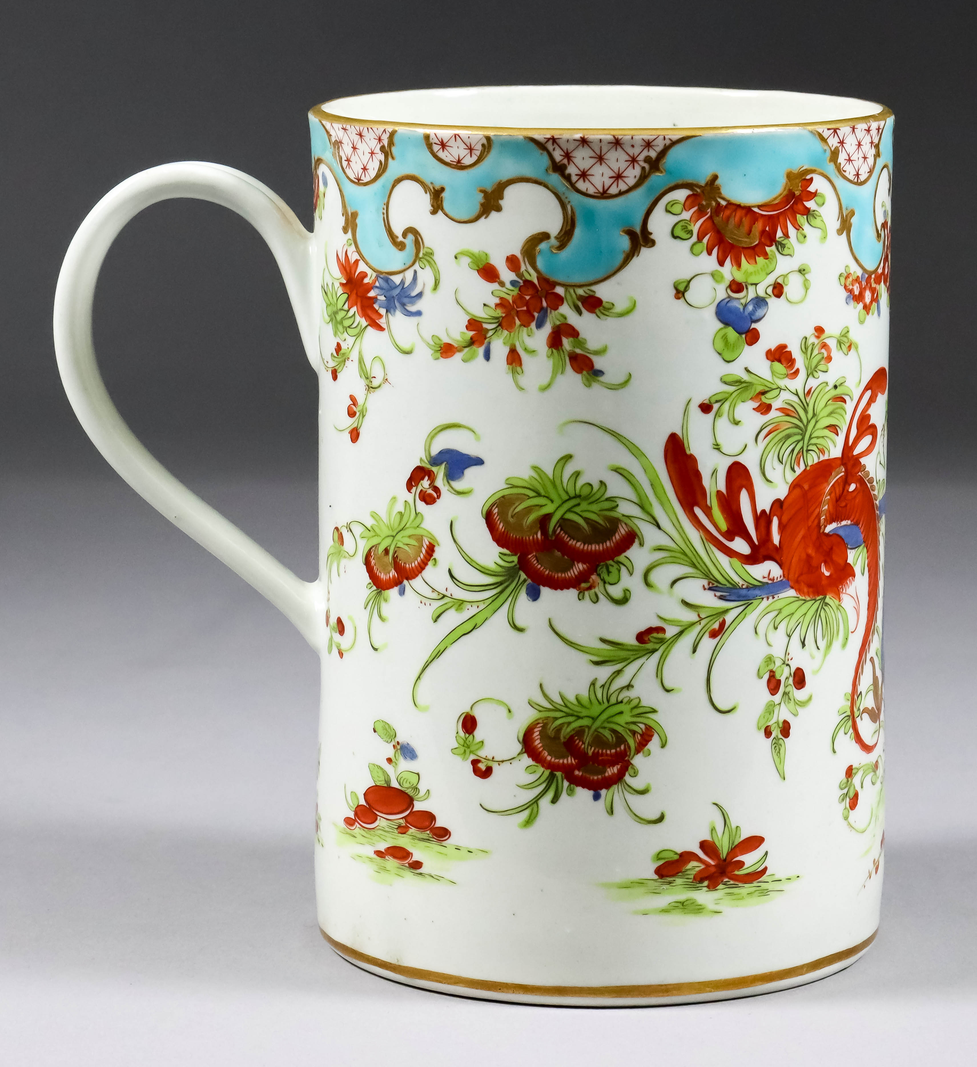 """Lot 532 - A Worcester Porcelain Tankard, 18th Century, painted with """"Jabberwocky"""" pattern, 5.5ins high"""