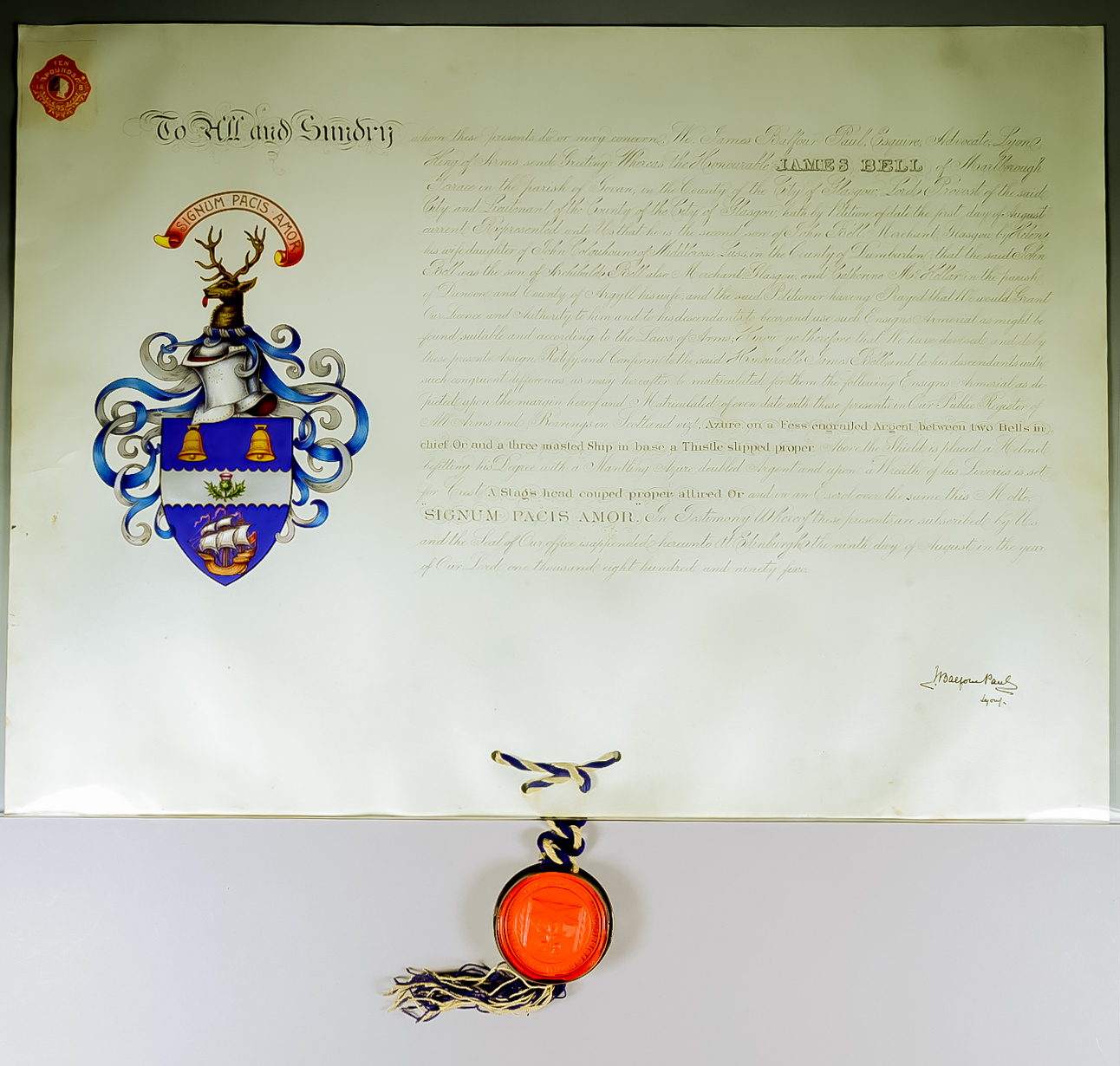 Lot 5 - A Victorian Warrant for the Grant of Arms to James Bell Esquire, 1895, handwritten on parchment