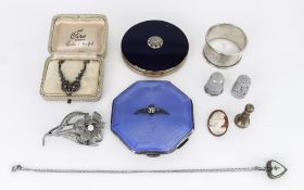 A George VI Silver and Blue Enamel RAF Octagonal Compact, and mixed items, the compact by John