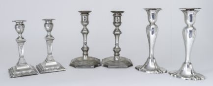 Three Pairs of Edward VII Silver Pillar Candlesticks, one pair by Hawksworth Eyre & Co. Ltd,
