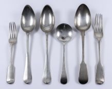A William IV Silver Fiddle Pattern Table Spoon and Fork, and mixed silverware, the spoon and fork by