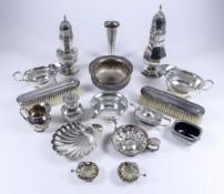 An Edward VII Silver Sugar Caster, an Elizabeth II Silver Sugar Caster, and mixed silverware, the