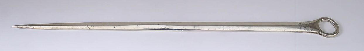 A George III Plain Silver Meat Skewer, London 1789, with circular ring handle, engraved with