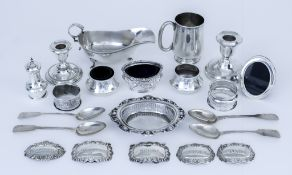 An Early 20th Century Silver Christening Mug and mixed silverware, the christening mug by Barker