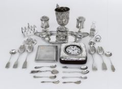 A Victorian Silver Christening Mug, a George V Silver Oval Inkstand, and mixed silverware, the