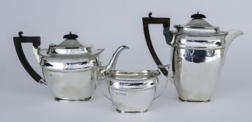 A George VI Silver Rectangular Three-Piece Part Tea Service, by Martin, Hall & Co, Birmingham