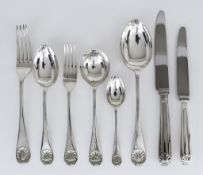 An Elizabeth II Silver Shell Pattern Table Service for Eight Place Settings, by M.D.Q. Sheffield