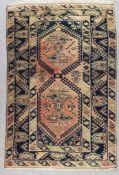 "A Turkish Runner of ""Kazak"" Design, 20th Century, woven in pastel shades, with five lozenge shape"