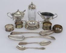 An Edward VII Silver Oval Mustard Pot and Matching Two-Handled Salt, and mixed silverware, the
