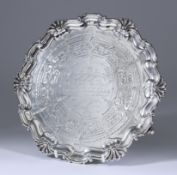 A Victorian Silver Circular Salver, by Hawksworth & Co, Sheffield 1860, with shaped shell and scroll