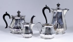 A George V Silver Octagonal Four-Piece Tea Service, by Roberts & Belk Ltd, Sheffield 1918, with