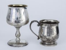 An Elizabeth II Silver Goblet and George V Silver Christening Mug, the goblet by A.T. Canon,