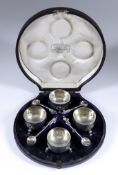A Set of Four Victorian Silver Circular Salts, by Edward & John Barnard, London 1871, the circular