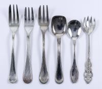 Three Sets of Twelve Continental Silver Pastry Forks and Twelve Silver Ice Cream Spoons, and other